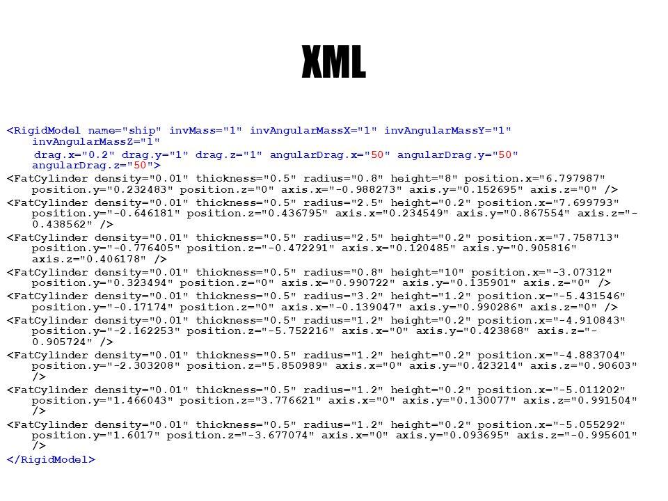 XML <RigidModel name= ship invMass= 1 invAngularMassX= 1 invAngularMassY= 1 invAngularMassZ= 1 drag.x= 0.2 drag.y= 1 drag.z= 1 angularDrag.x= 50 angularDrag.y= 50 angularDrag.z= 50 >