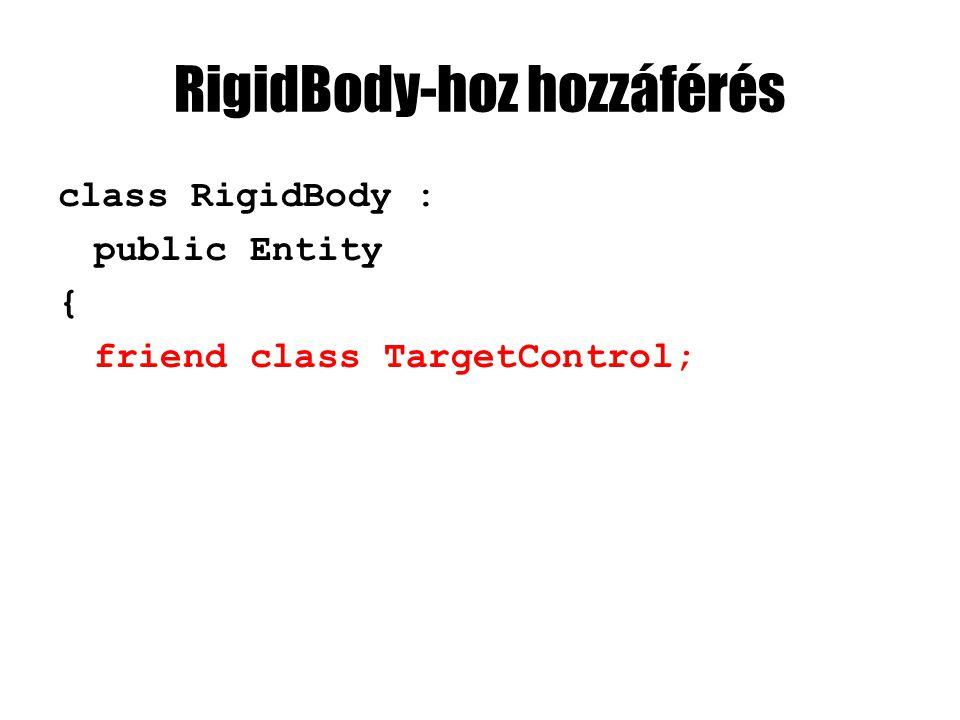 RigidBody-hoz hozzáférés class RigidBody : public Entity { friend class TargetControl;