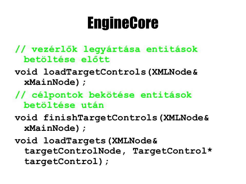 EngineCore // vezérlők legyártása entitások betöltése előtt void loadTargetControls(XMLNode& xMainNode); // célpontok bekötése entitások betöltése után void finishTargetControls(XMLNode& xMainNode); void loadTargets(XMLNode& targetControlNode, TargetControl* targetControl);