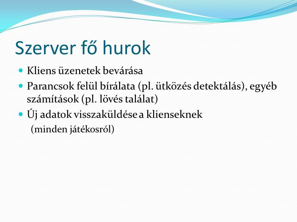 Szerver fő hurok Kliens üzenetek bevárása Parancsok felül bírálata (pl.