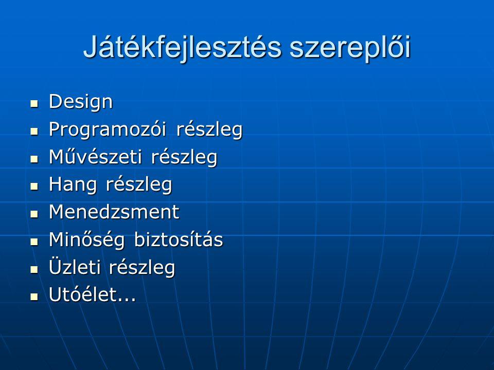 Játékfejlesztés szereplői Design Design Programozói részleg Programozói részleg Művészeti részleg Művészeti részleg Hang részleg Hang részleg Menedzsment Menedzsment Minőség biztosítás Minőség biztosítás Üzleti részleg Üzleti részleg Utóélet...