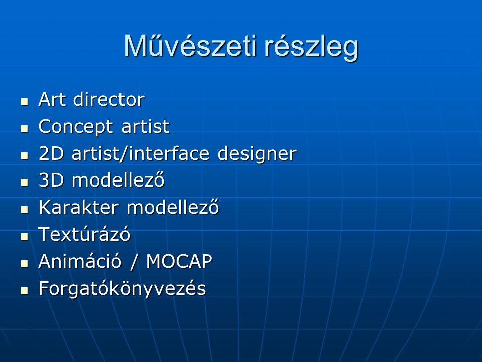 Művészeti részleg Art director Art director Concept artist Concept artist 2D artist/interface designer 2D artist/interface designer 3D modellező 3D modellező Karakter modellező Karakter modellező Textúrázó Textúrázó Animáció / MOCAP Animáció / MOCAP Forgatókönyvezés Forgatókönyvezés