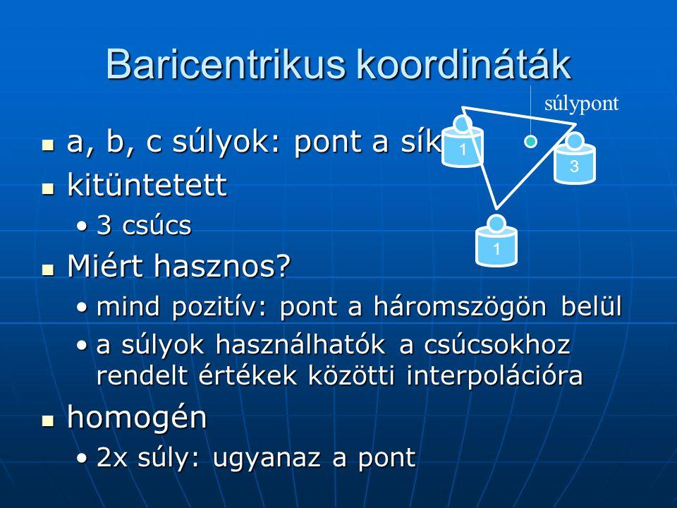 Baricentrikus koordináták a, b, c súlyok: pont a síkon a, b, c súlyok: pont a síkon kitüntetett kitüntetett 3 csúcs3 csúcs Miért hasznos? Miért haszno