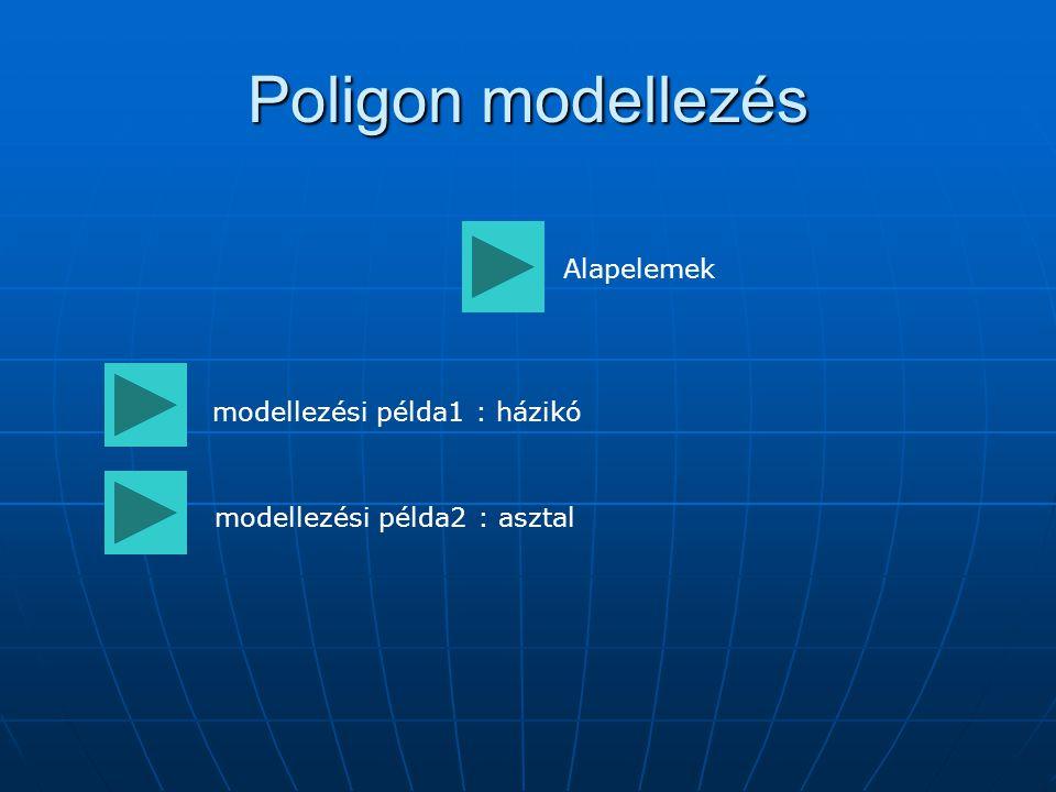 Poligon modellezés Alapelemek modellezési példa1 : házikó modellezési példa2 : asztal