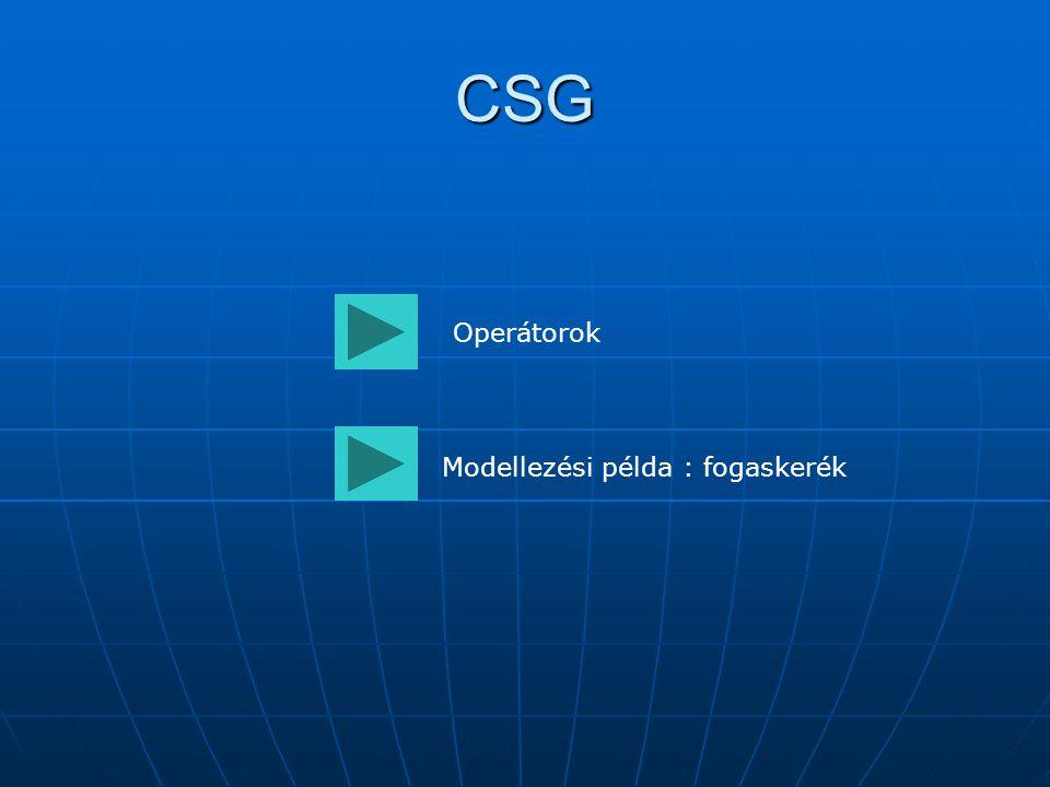 CSG Operátorok Modellezési példa : fogaskerék