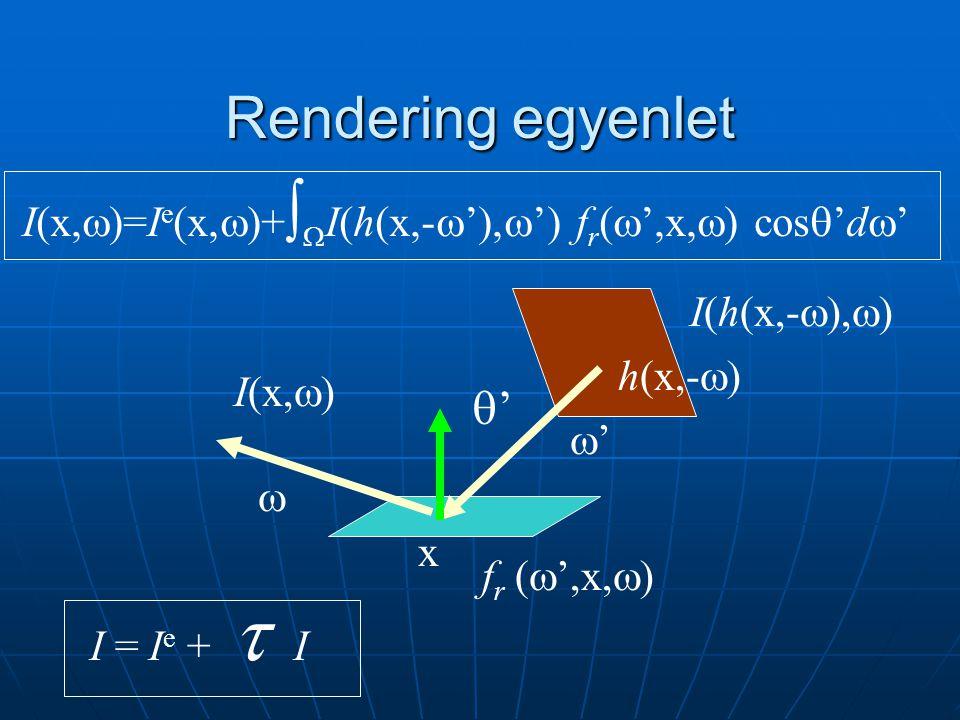 Rendering egyenlet I(x,  )=I e (x,  )+   I(h(x,-  ' ,  ') f r (  ',x,  ) cos  'd  ' I = I e +  I '' f r (  ',x,  ) h(x,-  I(x,  ) x  '' I(h(x,- ,  )