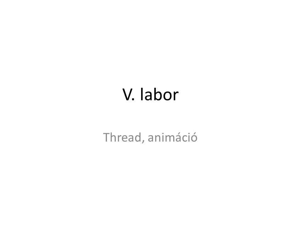 Belső osztály az AnimatedController -ben class AnimationThread extends Thread{ public void run(){ try { while (board.step(40)) { //míg nincs vége az animációnak view.display(); sleep(40); } } catch (InterruptedException ie) { } finally { view.display(); if (board.getWhiteOnTurn()) { view.printMessage( White to move! ); } else { view.printMessage( Black to move! ); } // meg egy ilyen típusú mező is kell AnimationThread animationThread;