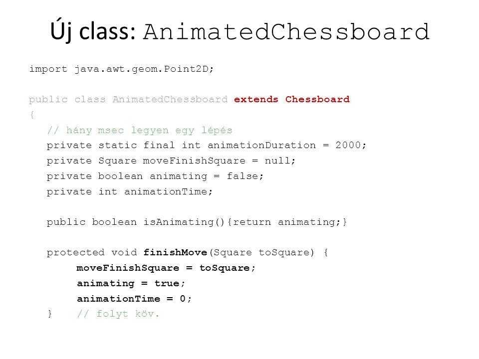 folyt: AnimatedChessboard public void finishAnimation() { animating = false; super.finishMove(moveFinishSquare); } public boolean step(int deltaTime) { animationTime += deltaTime; if (animationTime > animationDuration) { finishAnimation(); return false; } return true; }