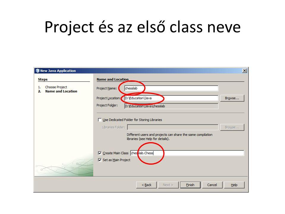 Project és az első class neve