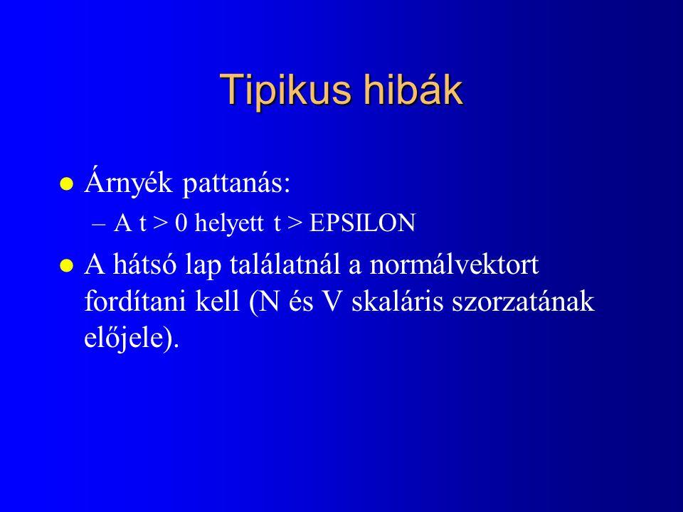 Tipikus hibák l Árnyék pattanás: –A t > 0 helyett t > EPSILON l A hátsó lap találatnál a normálvektort fordítani kell (N és V skaláris szorzatának előjele).
