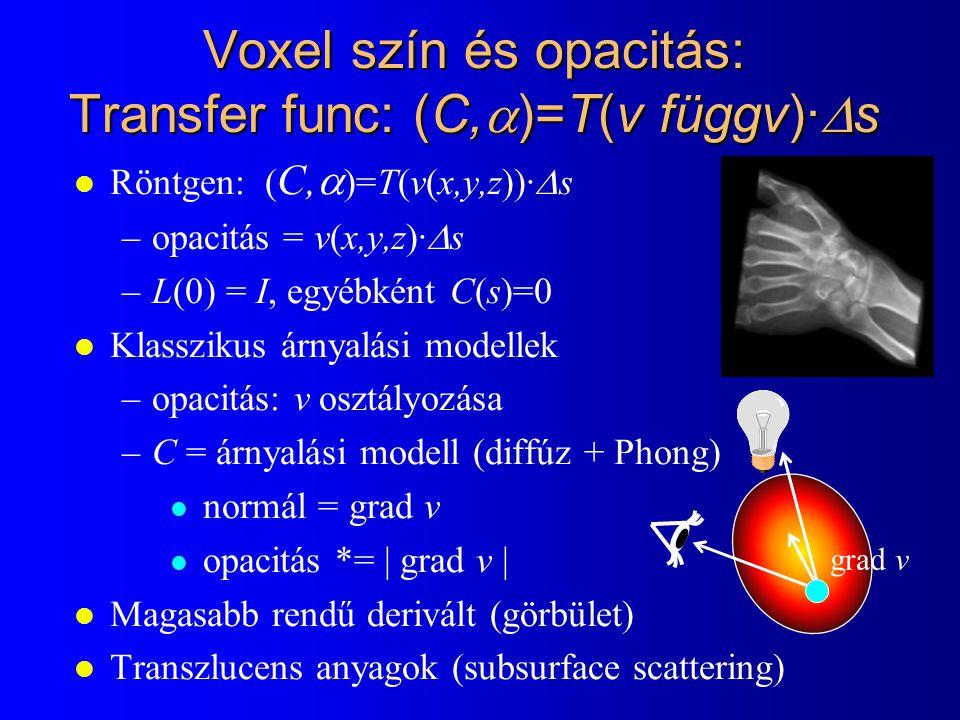 Voxel szín és opacitás: Transfer func: (C,  )=T(v függv)·  s Röntgen: ( C,  )=T(v(x,y,z))·  s –opacitás = v(x,y,z)·  s –L(0) = I, egyébként C(s)=