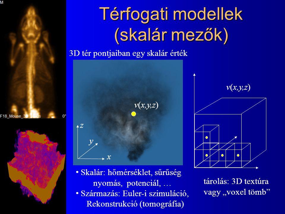 Térfogati modellek (skalár mezők) 3D tér pontjaiban egy skalár érték Skalár: hőmérséklet, sűrűség nyomás, potenciál, … Származás: Euler-i szimuláció,
