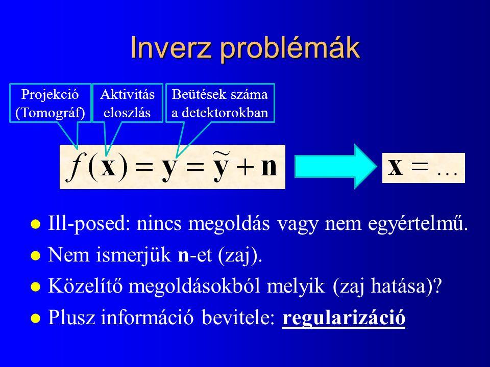Inverz problémák l Ill-posed: nincs megoldás vagy nem egyértelmű. l Nem ismerjük n-et (zaj). l Közelítő megoldásokból melyik (zaj hatása)? l Plusz inf