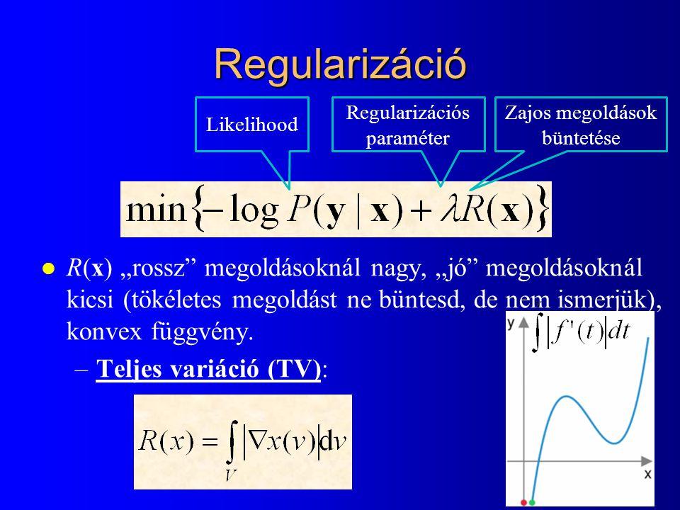 """Regularizáció l R(x) """"rossz"""" megoldásoknál nagy, """"jó"""" megoldásoknál kicsi (tökéletes megoldást ne büntesd, de nem ismerjük), konvex függvény. –Teljes"""