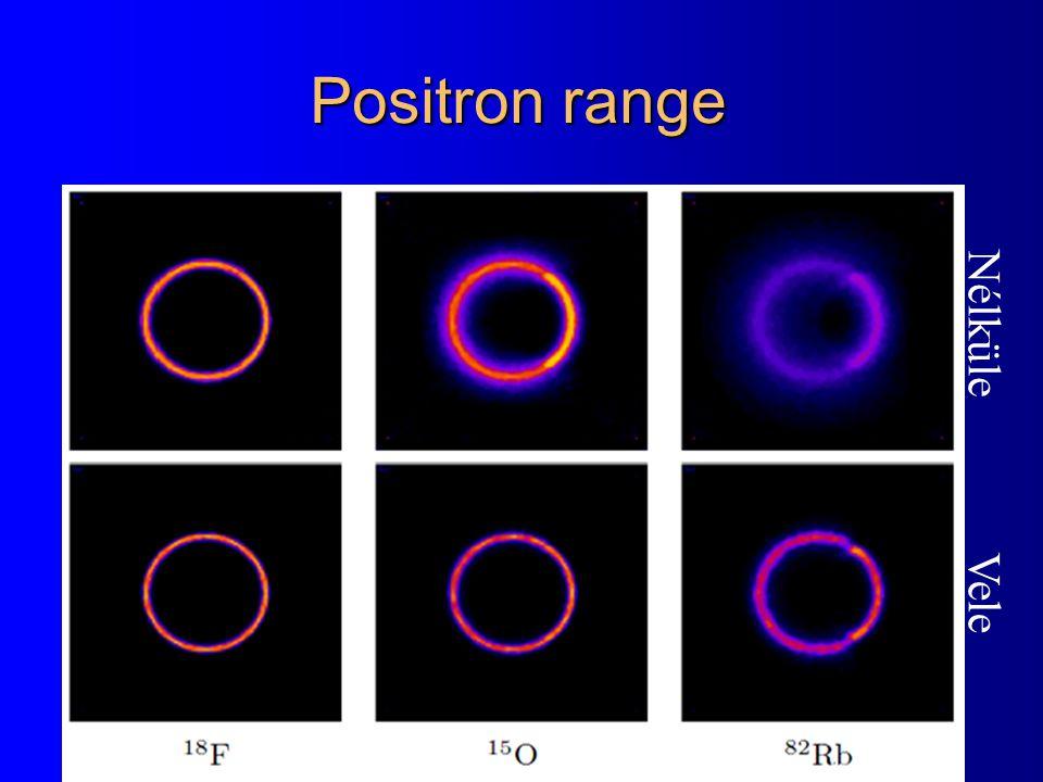 Positron range Nélküle Vele