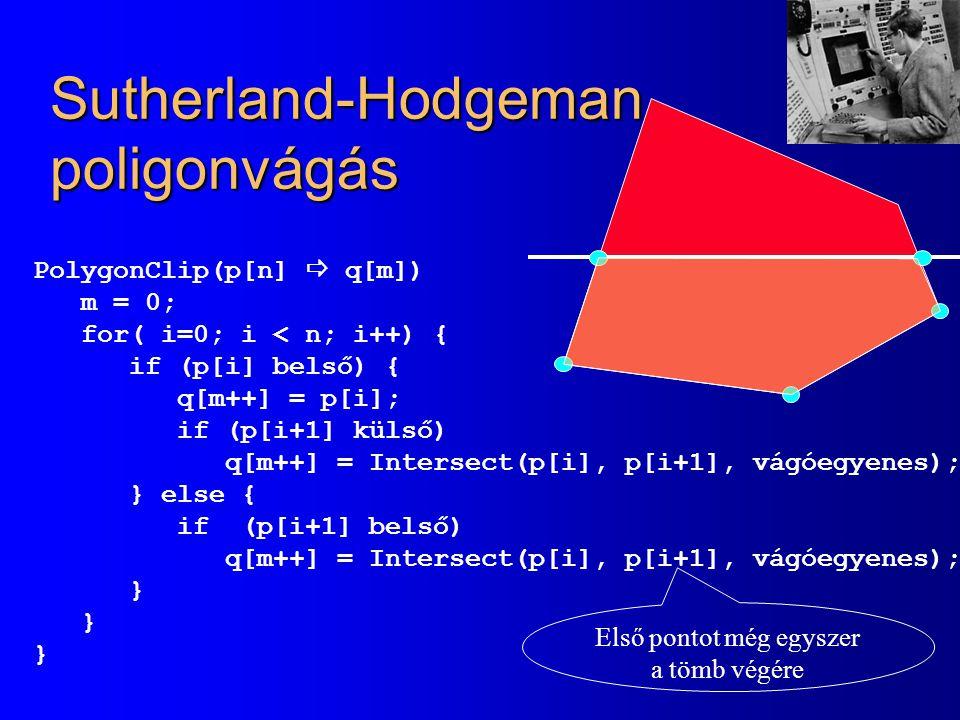 Sutherland-Hodgeman poligonvágás PolygonClip(p[n]  q[m]) m = 0; for( i=0; i < n; i++) { if (p[i] belső) { q[m++] = p[i]; if (p[i+1] külső) q[m++] = Intersect(p[i], p[i+1], vágóegyenes); } else { if (p[i+1] belső) q[m++] = Intersect(p[i], p[i+1], vágóegyenes); } Első pontot még egyszer a tömb végére