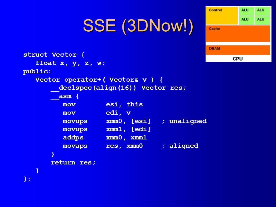 SSE (3DNow!) struct Vector { float x, y, z, w; public: Vector operator+( Vector& v ) { __declspec(align(16)) Vector res; __asm { movesi, this movedi, v movupsxmm0, [esi]; unaligned movupsxmm1, [edi] addpsxmm0, xmm1 movapsres, xmm0; aligned } return res; } };