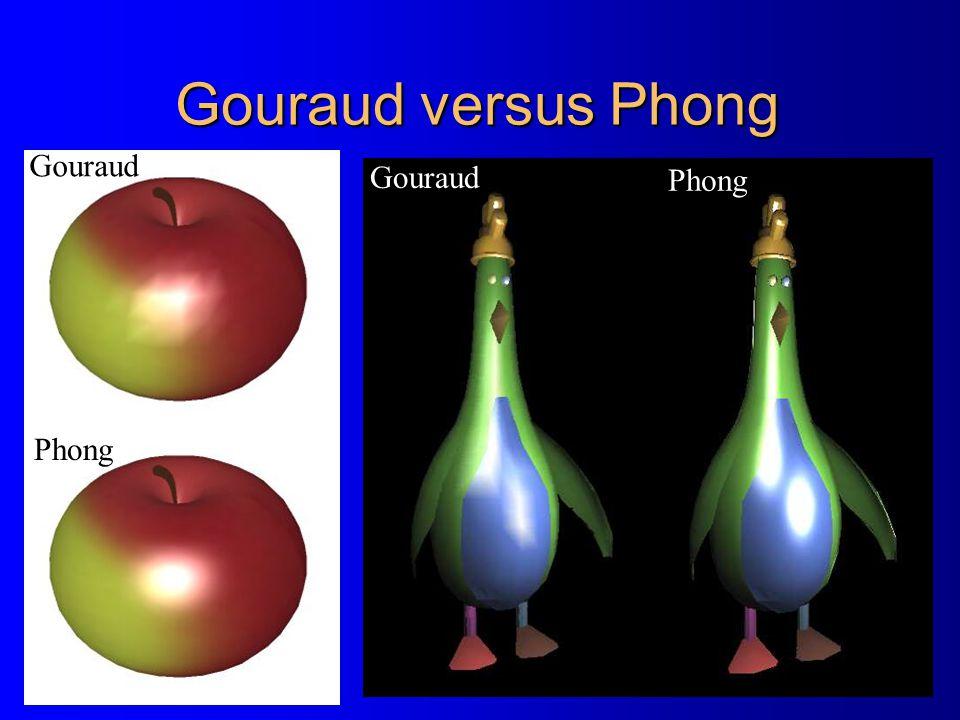 Gouraud versus Phong Gouraud Phong Gouraud