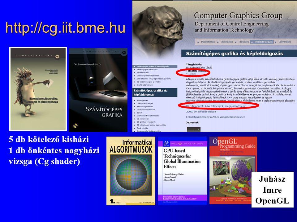 http://cg.iit.bme.hu 5 db kötelező kisházi 1 db önkéntes nagyházi vizsga (Cg shader) Juhász Imre OpenGL