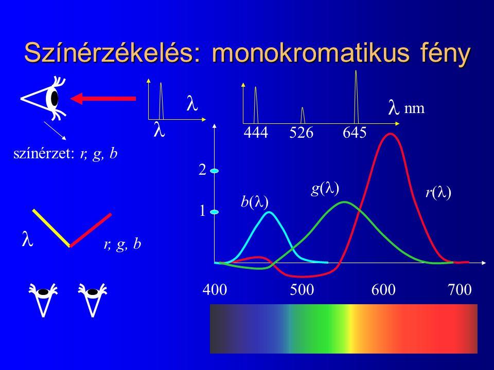 Színérzékelés: monokromatikus fény színérzet: r, g, b 400700500600 r(r( g(g( b(b( r, g, b 645526444 nm 1 2