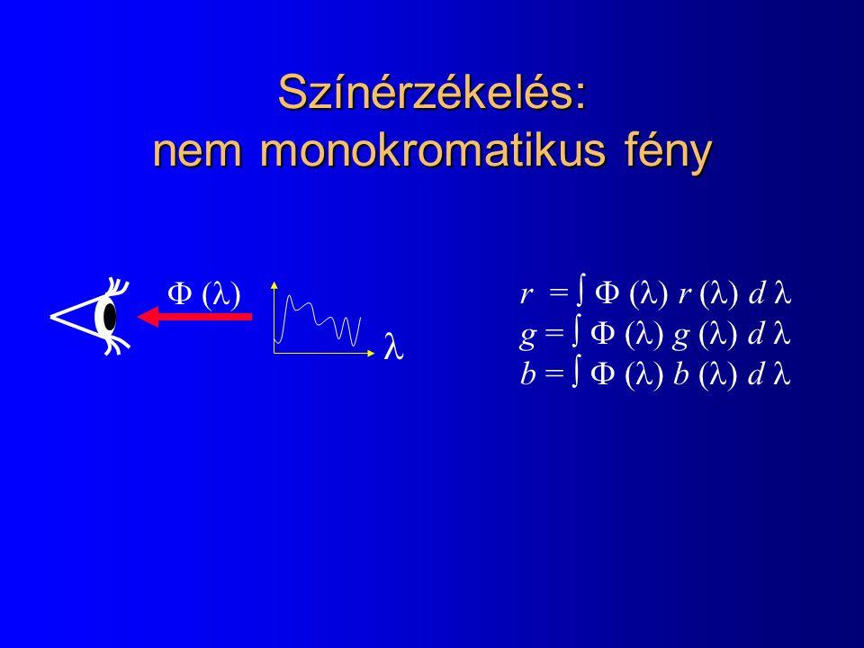 Színérzékelés: nem monokromatikus fény r =   r  d g =   g  d b =   b  d 