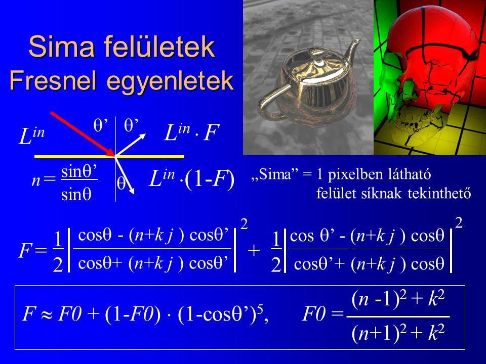 """F =F = cos  ' - (n+k j ) cos  cos  '+ (n+k j ) cos  2 cos  - (n+k j ) cos  ' cos  + (n+k j ) cos  '  '' n =n = sin  ' sin  2 '' 1212 1212 + F  F0 + (1-F0)  (1-cos  ') 5, F0 = (n -1) 2 + k 2 (n+1) 2 + k 2 Sima felületek Fresnel egyenletek L in  F L in  (1-F) L in """"Sima = 1 pixelben látható felület síknak tekinthető"""