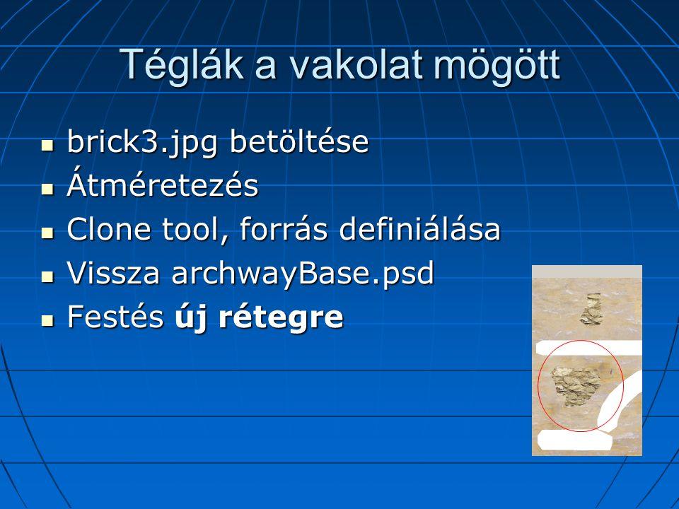 Téglák a vakolat mögött brick3.jpg betöltése brick3.jpg betöltése Átméretezés Átméretezés Clone tool, forrás definiálása Clone tool, forrás definiálása Vissza archwayBase.psd Vissza archwayBase.psd Festés új rétegre Festés új rétegre