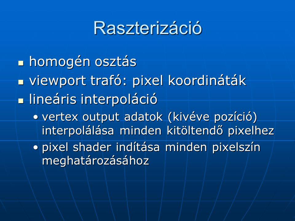 Raszterizáció homogén osztás homogén osztás viewport trafó: pixel koordináták viewport trafó: pixel koordináták lineáris interpoláció lineáris interpo