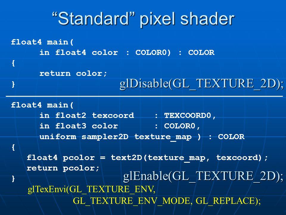 """Standard"" pixel shader glDisable(GL_TEXTURE_2D); glEnable(GL_TEXTURE_2D); glEnable(GL_TEXTURE_2D); glTexEnvi(GL_TEXTURE_ENV, GL_TEXTURE_ENV_MODE, GL_"