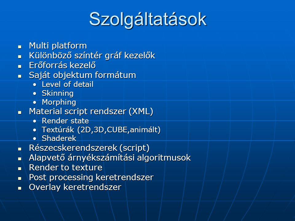 Szolgáltatások Multi platform Multi platform Különböző színtér gráf kezelők Különböző színtér gráf kezelők Erőforrás kezelő Erőforrás kezelő Saját obj