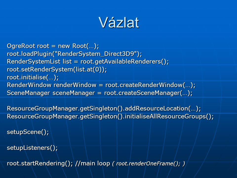 Vázlat OgreRoot root = new Root(…); root.loadPlugin(
