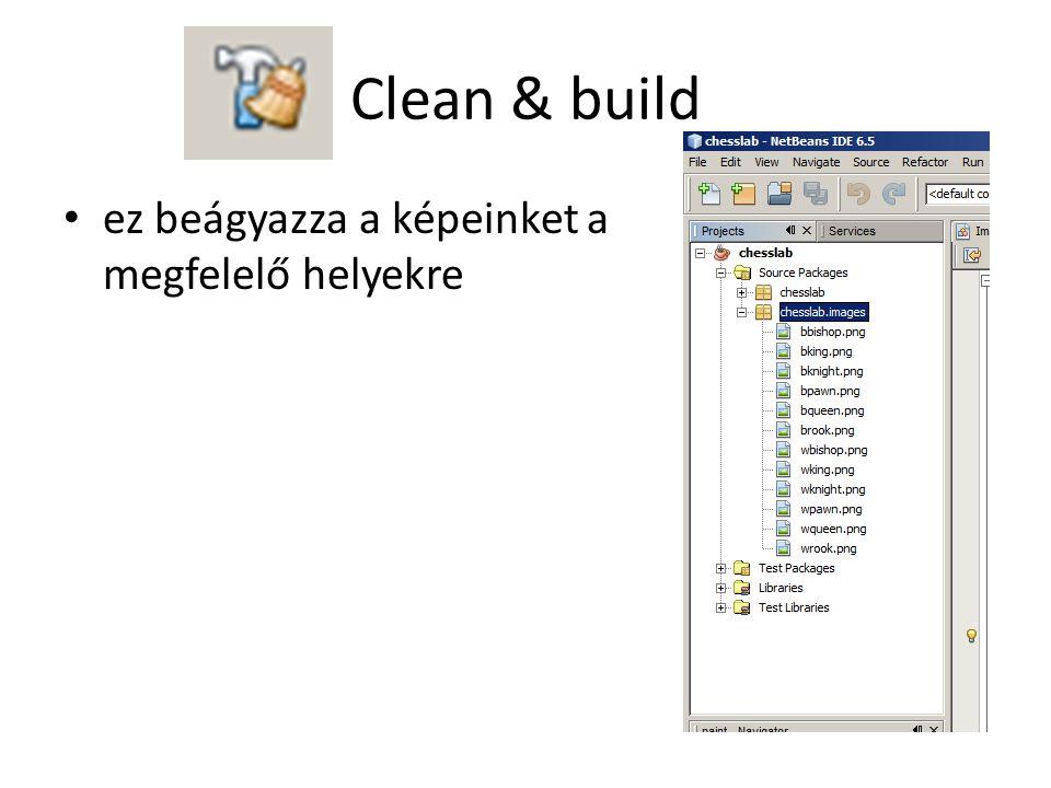 Clean & build ez beágyazza a képeinket a megfelelő helyekre