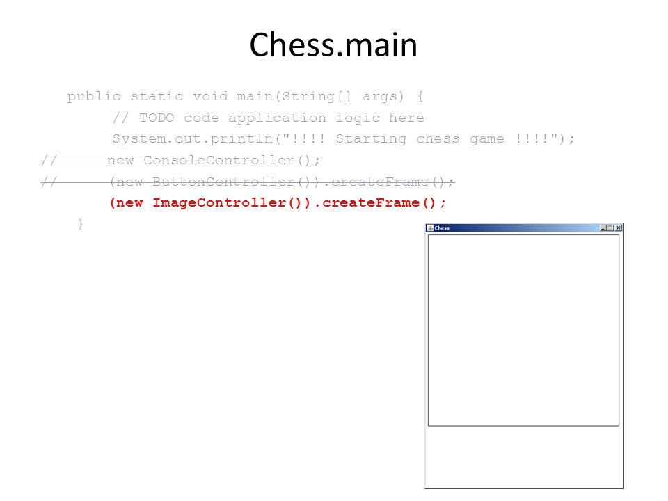 Önálló feladat legyen piros keret a megfogott figura körül ImageView.paint –et kell ezzel kiegészíteni Graphics.drawRect hasznos lesz (olvasgassuk az API referenciát hozzá) A modellből olvassuk ki hozzá, hogy van-e megfogott figura, és hogy hol – akár lekérdező függvényt is adhatunk a modellhez, hogy hozzáférjünk az információhoz – keret csúcs koordináták: [20 + file * 50, 20 + (7-rank)*50] 6 perc