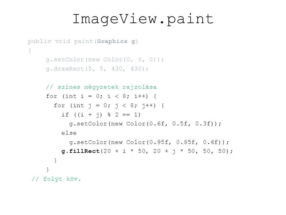 ImageView.paint // rácsvonalak rajzolása, számok, betűk rajzolása g.setColor(new Color(0, 0, 0)); for (int i = 0; i < 9; i++){ g.drawLine(20 + i * 50, 20, 20 + i * 50, 420); g.drawLine(20, 20 + i * 50, 420, 20 + i * 50); if (i != 8){ g.drawString(String.valueOf(Square.fileIndexToLetter(i)), 42 + i * 50, 17); g.drawString(String.valueOf(Square.fileIndexToLetter(i)), 42 + i * 50, 432); g.drawString(String.valueOf(8 - i), 10, 47 + i * 50); g.drawString(String.valueOf(8 - i), 425, 47 + i * 50); }