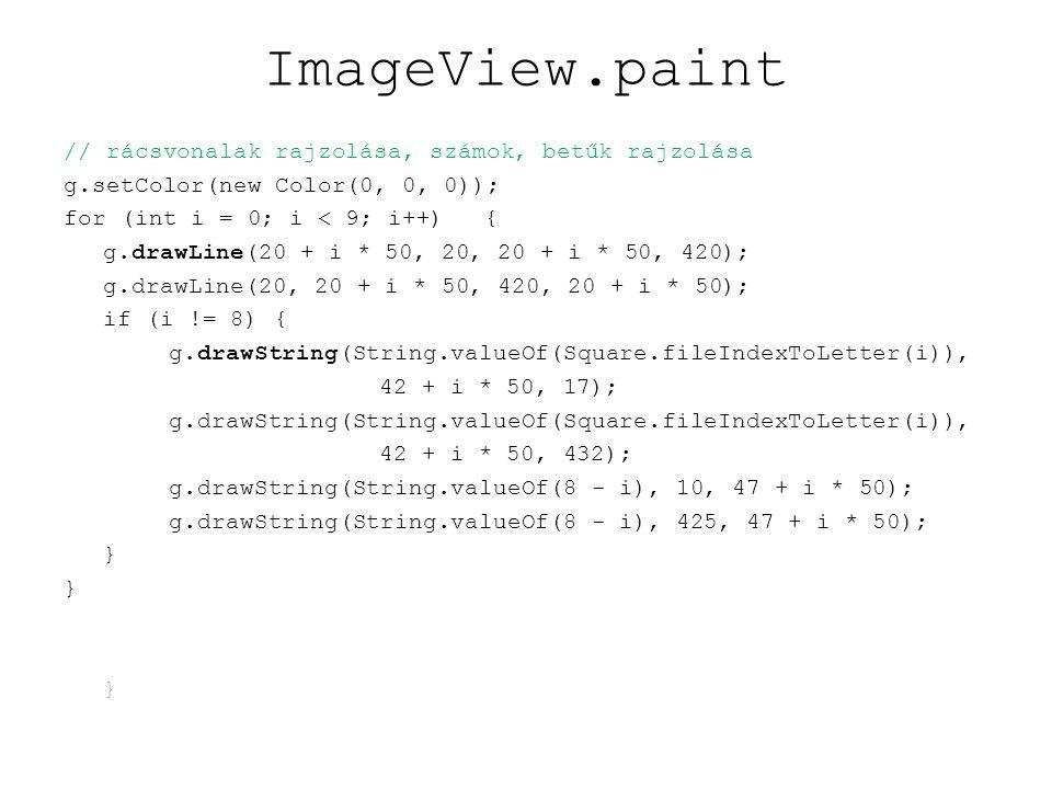 ImageView: képek betöltése public ImageView(Chessboard board) { this.board = board; printMessage( proba1 ); printMessage( proba2 ); printMessage( proba3 ); printMessage( proba4 ); printMessage( proba5 ); printMessage( proba6 ); Toolkit toolkit = Toolkit.getDefaultToolkit(); MediaTracker mediaTracker = new MediaTracker(this); int id = 0; Image wKingImage = toolkit.getImage( getClass().getResource( images/wking.png )); mediaTracker.addImage(wKingImage, id); id++; pieceImages.put( K , wKingImage);// folyt köv.