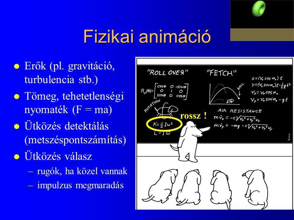 Fizikai animáció l Erők (pl. gravitáció, turbulencia stb.) l Tömeg, tehetetlenségi nyomaték (F = ma) l Ütközés detektálás (metszéspontszámítás) l Ütkö