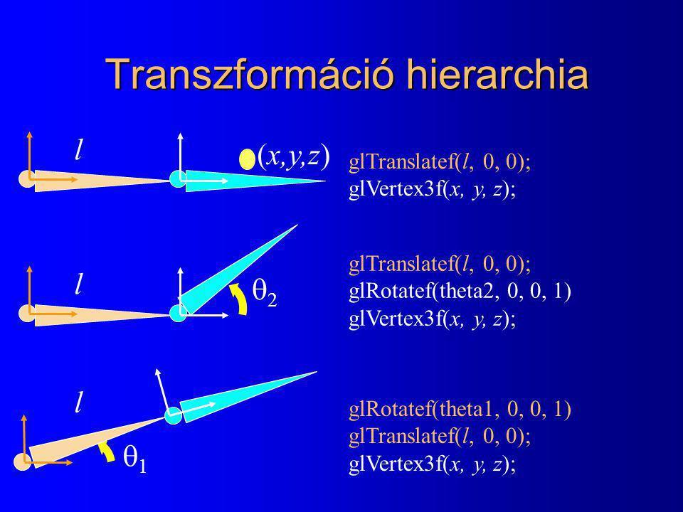 Transzformáció hierarchia 22 l l 11 l (x,y,z) glTranslatef(l, 0, 0); glVertex3f(x, y, z); glTranslatef(l, 0, 0); glRotatef(theta2, 0, 0, 1) glVertex3f(x, y, z); glRotatef(theta1, 0, 0, 1) glTranslatef(l, 0, 0); glVertex3f(x, y, z);