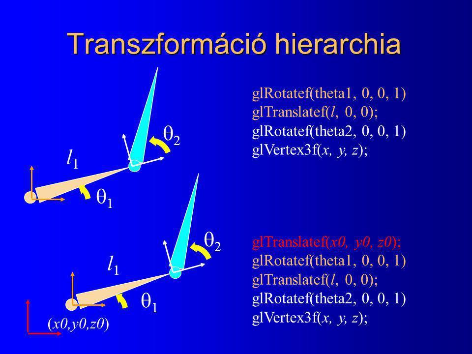 Transzformáció hierarchia l1l1 22 11 l1l1 22 11 glRotatef(theta1, 0, 0, 1) glTranslatef(l, 0, 0); glRotatef(theta2, 0, 0, 1) glVertex3f(x, y, z); glTranslatef(x0, y0, z0); glRotatef(theta1, 0, 0, 1) glTranslatef(l, 0, 0); glRotatef(theta2, 0, 0, 1) glVertex3f(x, y, z); (x0,y0,z0)