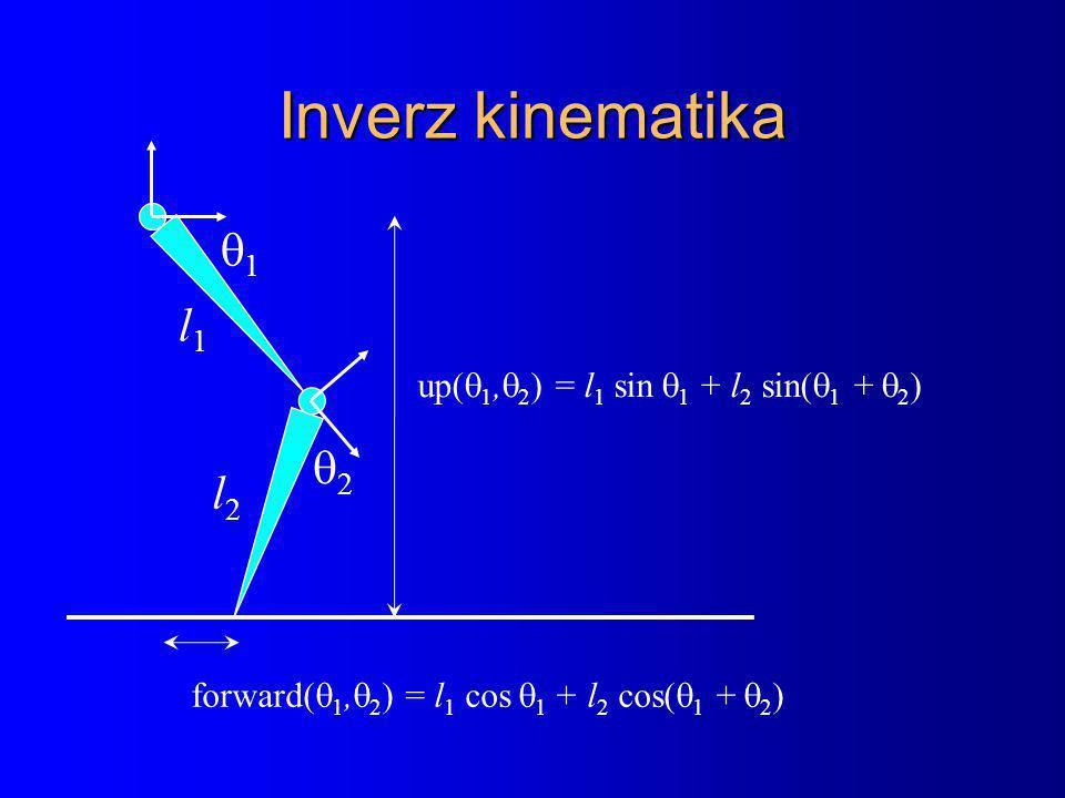 Inverz kinematika l1l1 22 11 l2l2 up(  1,  2 ) = l 1 sin  1 + l 2 sin(  1 +  2 ) forward(  1,  2 ) = l 1 cos  1 + l 2 cos(  1 +  2 )