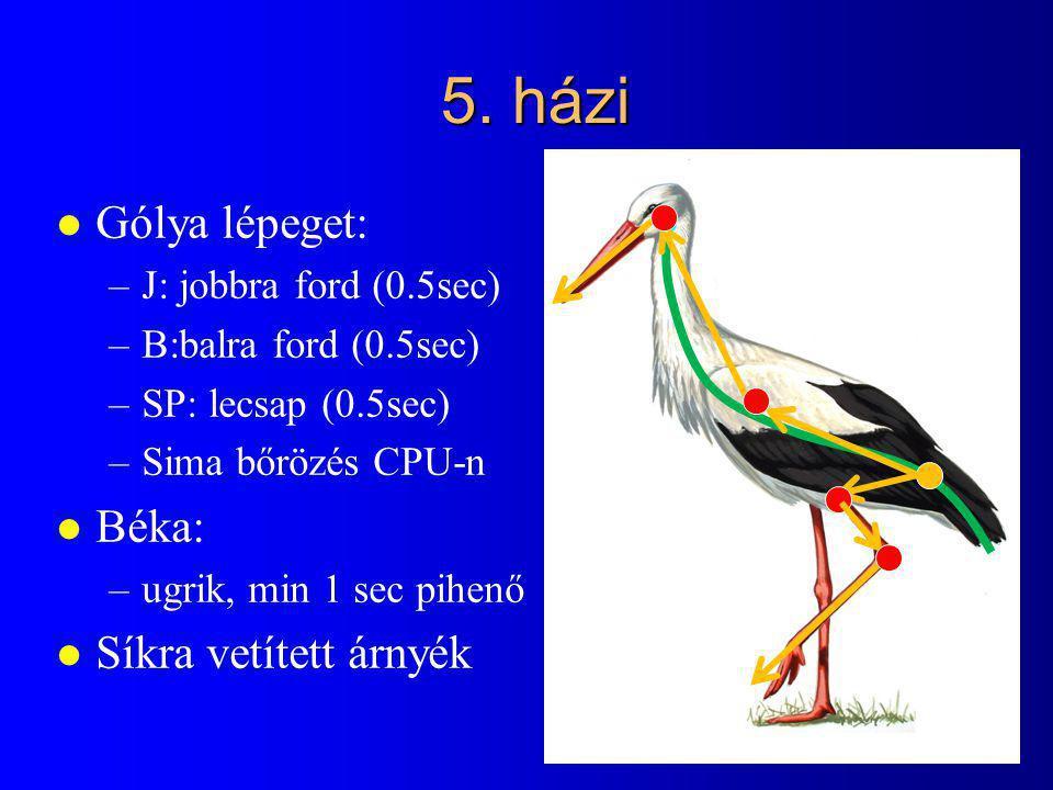 5. házi l Gólya lépeget: –J: jobbra ford (0.5sec) –B:balra ford (0.5sec) –SP: lecsap (0.5sec) –Sima bőrözés CPU-n l Béka: –ugrik, min 1 sec pihenő l S