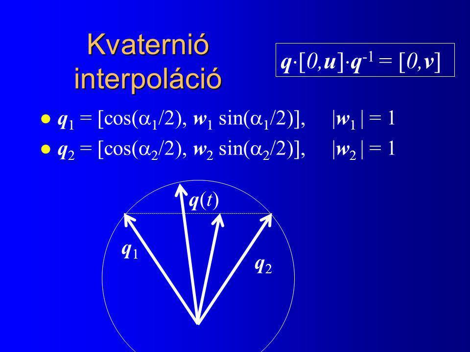 l q 1 = [cos(  1 /2), w 1 sin(  1 /2)], |w 1 | = 1 l q 2 = [cos(  2 /2), w 2 sin(  2 /2)], |w 2 | = 1 q1q1 q2q2 q(t)q(t) q  [0,u]  q -1 = [0,v]