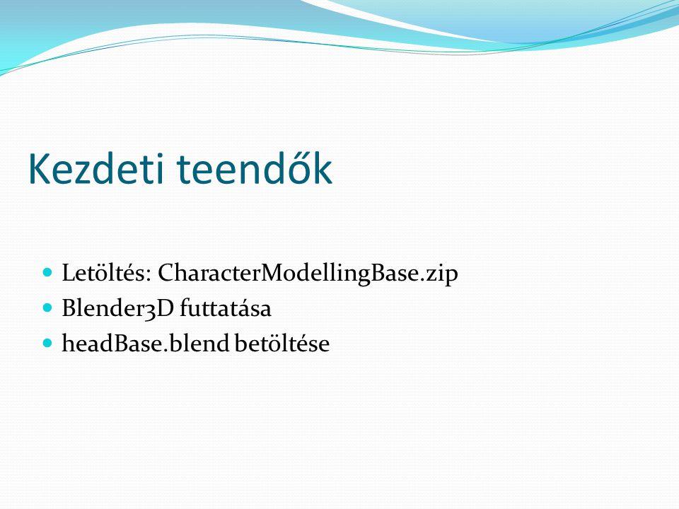 Kezdeti teendők Letöltés: CharacterModellingBase.zip Blender3D futtatása headBase.blend betöltése