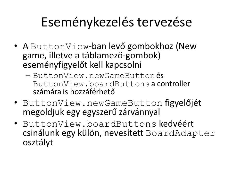 Eseménykezelés tervezése A ButtonView -ban levő gombokhoz (New game, illetve a táblamező-gombok) eseményfigyelőt kell kapcsolni – ButtonView.newGameButton és ButtonView.boardButtons a controller számára is hozzáférhető ButtonView.newGameButton figyelőjét megoldjuk egy egyszerű zárvánnyal ButtonView.boardButtons kedvéért csinálunk egy külön, nevesített BoardAdapter osztályt