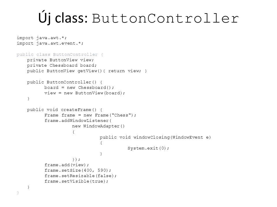 Applet HTML, applet méret másoljuk át a generált ChessApplet.html filet – a build folderből – az src/chesslab folderbe rebuild ChessApplet.html megjelenik a project ablakban –