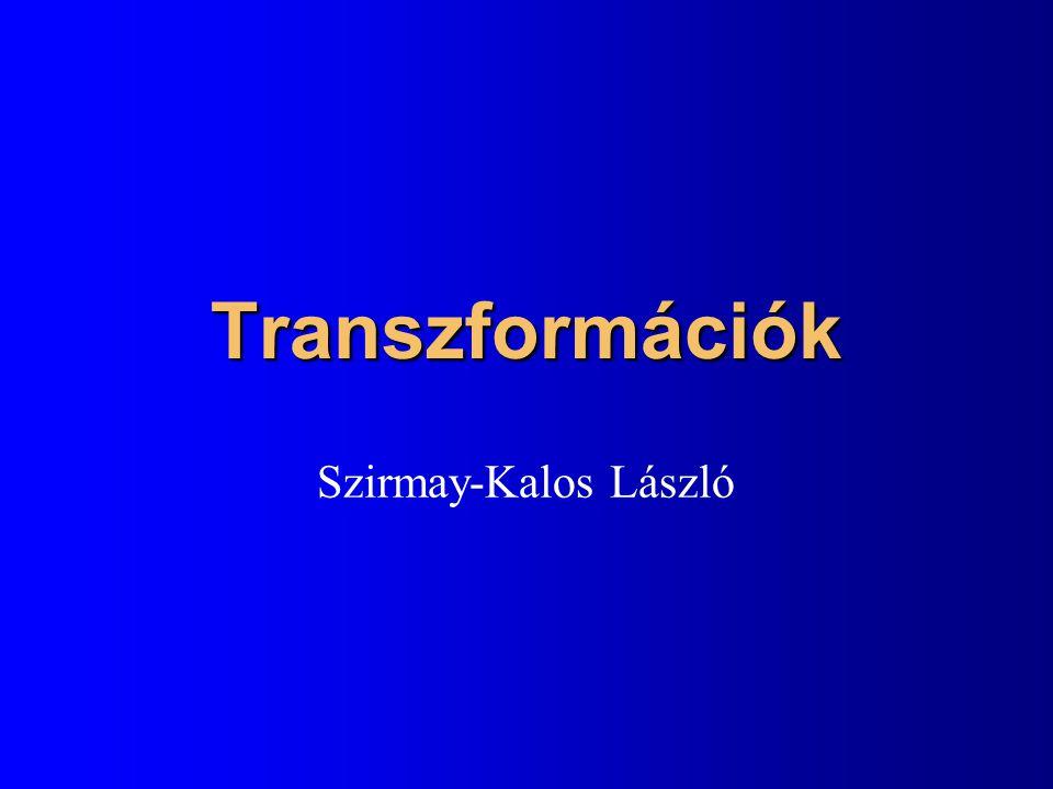 Transzformációk (x,y) (x',y') = T(x,y) l Tönkre tehetik az egyenletet l Korlátozzuk a transformációkat és az alakzatokat úgy, hogy invariáns legyen –Pont, egyenes (szakasz), sík (poligon) l Affin transzformációk –Párhuzamos egyenes tartó –Descartes koordinátákban lineáris Homogén lineáris transzformációk Egyenest egyenesbe Homogén koordinátákban lineáris