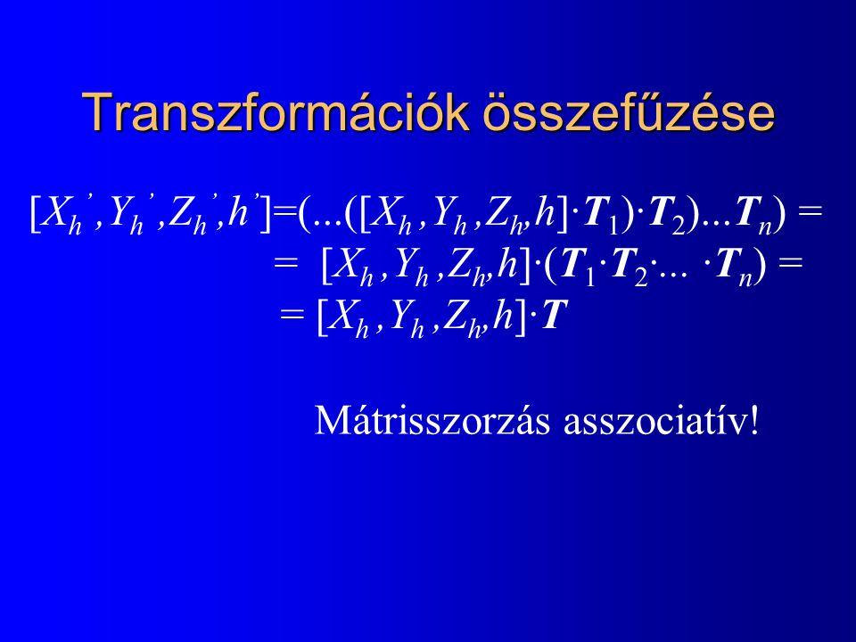 Transzformációk összefűzése [X h ',Y h ',Z h ',h ' ]=(...([X h,Y h,Z h,h]·T 1 )·T 2 )...T n ) = = [X h,Y h,Z h,h]·(T 1 ·T 2 ·...