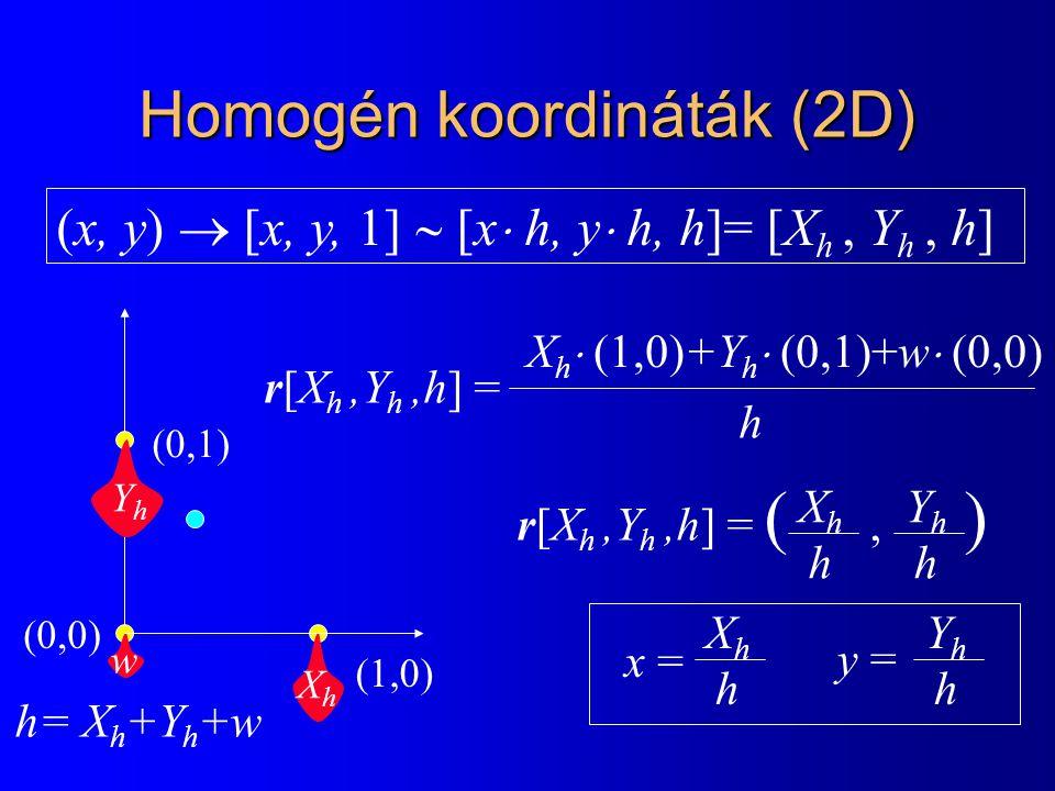 Homogén koordináták (2D) XhXh YhYh w (0,0) (1,0) (0,1) r[X h,Y h,h] = X h  (1,0)+Y h  (0,1)+w  (0,0) h r[X h,Y h,h] = (, ) XhhXhh YhhYhh x = XhhXhh YhhYhh y = (x, y)  [x, y, 1]  [x  h, y  h, h]= [X h, Y h, h] h= X h +Y h +w
