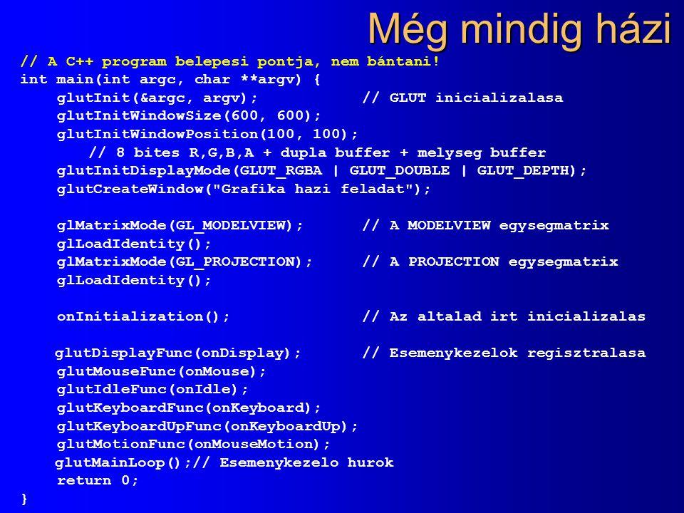 Még mindig házi // A C++ program belepesi pontja, nem bántani! int main(int argc, char **argv) { glutInit(&argc, argv); // GLUT inicializalasa glutIni