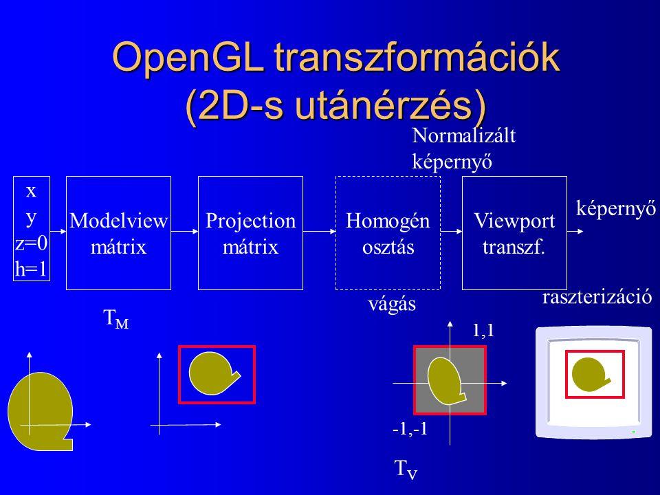 OpenGL transzformációk x y z=0 h=1 Modelview mátrix Projection mátrix TMTM glMatrixMode(GL_MODELVIEW); glLoadIdentity( ); glTranslatef(px, py, 0); glRotatef(phi, 0, 0, 1); glScalef(sx, sy, 1); glMatrixMode(GL_PROJECTION); glLoadIdentity(); gluOrtho2D(wl, wr, wb, wt); -1,-1 1,1 (wl,wb) (wr,wt)