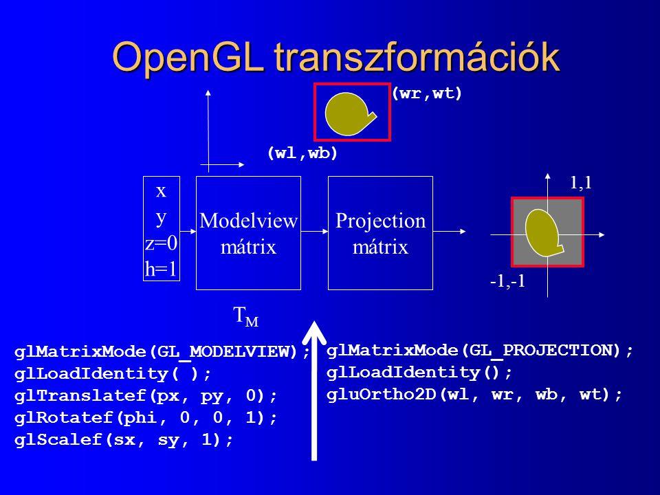 OpenGL transzformációk x y z=0 h=1 Modelview mátrix Projection mátrix TMTM glMatrixMode(GL_MODELVIEW); glLoadIdentity( ); glTranslatef(px, py, 0); glR